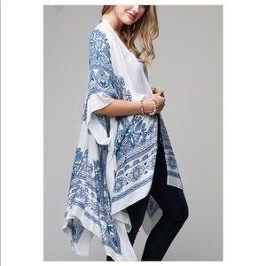 Tops - New Blue & White Lotus Print  Kimono
